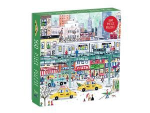 Galison Michael Storrings 500 Piece New York City Jigsaw Puzzle for Adults and Families, Holiday Puzzle with Winter Scenery in New York City