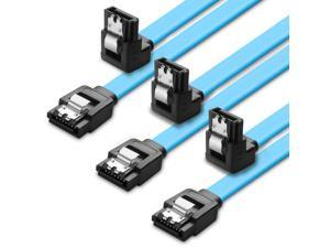 TNP SATA Cable III 6Gbps HDD SDD Data Cable (15 Inch Blue, 3 Pack), 8-pin 6.0 Gbps SATA 3 Cable with 90 Degree Right Angle Connector & Locking Latch Wire Cord Plug for SATA HDD, SSD, CD Driver,