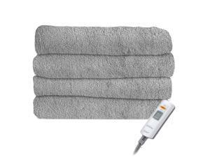 Sunbeam Premium Soft Velvet Plush Electric Heated Throw Blanket, Machine Washable Dryer Safe (Steel Grey)