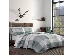 Eddie Bauer   Boulder Collection   100% Cotton Light-Weight Quilt Bedspread Matching Sham, 2-Piece Bedding Set, Pre-Washed for Extra Comfort, Twin, Green