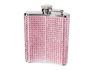 Oggi 9248.13 Glitter and Glitz Stainless Steel Hip Flask, Pink
