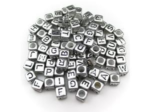 "ALL in ONE 75gram/500pcs Mixed Silver Acrylic Letter/Alphabet ""A-z""cube Beads(6x6x6mm, Black on Silver)"