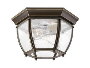 Progress Lighting P6019-20 Traditional Two Light Flush Mount from Roman Coach Collection Dark Finish, Antique Bronze