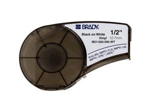 """Brady Official (M21-500-595-WT) High Adhesion Vinyl Label Tape, Black on White - Designed for BMP21-PLUS, IDPAL, and LABPAL Label Printers - 21 Length, 0.5"""" Width"""