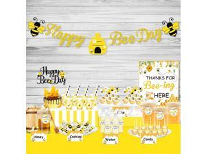UTOPP Bee Party Decorations Set - Happy Bee Day Banner Dessert Table Favors Food Tents Sign Cup Stickers Gift Tags with String for Kids Honey Bee Birthday Party,Honeycomb Baby Shower,Sweet as Can Bee