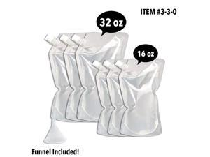 Concealable And Reusable Cruise Flask Kit - Sneak Alcohol Anywhere - 3 x 32 oz + 3 x 16 oz + 1 funnel