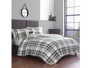 Eddie Bauer   Coal Creek Collection   100% Cotton Reversible & Light-Weight Quilt Bedspread with Matching Sham, 2-Piece Bedding Set, Pre-Washed for Extra Comfort, Twin, Chrome