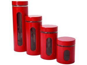 Anchor Hocking Palladian Window Cylinder Jars, Mixed Sizes, Cherry, Set of 4