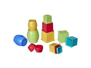 Playskool Stack and Nest Barrels and Blocks Bundle Toy for Babies and Toddlers 1 Year and Up, 16 Piece Set