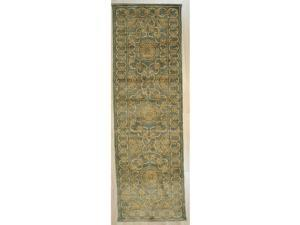 EORC Handmade Afghan Wool Blue Trasitional All Over Turkish Knot Rug, 99 x 31