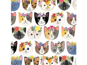 """Hippie Kitty Cats Gift Wrap Roll 24"""" X 15 - Gift Wrapping Paper"""