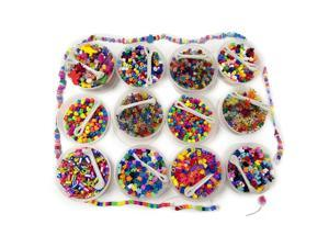 Beads Treasure Box - Includes 12 Buckets of Assorted Colored Beads with Beading Thread and Over 3500 Beads