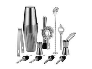 QLL 13 Piece Stainless Steel Boston Shaker Set, Including 20oz Unweighted & 27oz Weighted Professional Bartender Cocktail Shaker