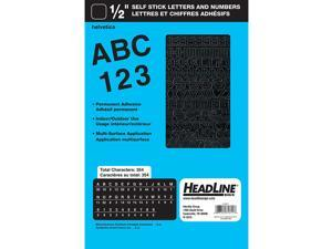 Headline Sign 31811 Stick-On Vinyl Letters and Numbers, Black, 1/2-Inch