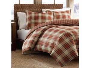 Eddie Bauer Edgewood Collection Plush Super Soft Micro-Suede Reversible Flannel Duvet Cover Matching Sham, 2-Piece Set, Pre-Shrunk & Brushed For Extra Softness, Twin, Red