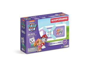 Magformers Paw Patrol 25 Pieces Pup Pup & Away Set, Pink and Purple colors, Educational Magnetic Geometric shapes tiles Building STEM Toy Set Ages 3+
