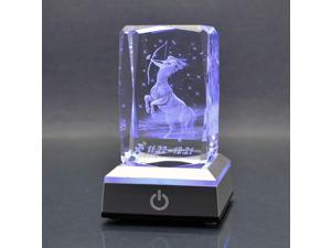 HOCHANCE 3D Constellation Sagittarius Crystal with LED Colourful Light Base,Birthday Present Valentines Day Gifts for Girlfriend Woman Aunt Wife Mom,Nov. 22 - Dec. 21,Symbolic Energy: Candid
