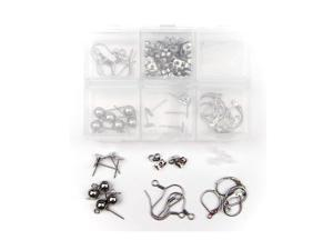 ALL in ONE Earring Making Kit: Stainless Steel Hypo-allergenic Earring Hooks, Flat Pad Findings, Leverback Findings, Half Ball Earring Stud Pins, Earring Backs (Hooks Kit)