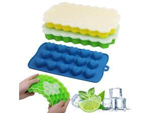 SENHAI 3 pcs Ice Cube Trays with Spill-Resistant Lid, Silicone Flexible Nonstick Stackable Candy Chocolate Mold Storage Containers - Yellow, Green, Blue