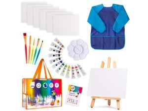 Kids Art Set | 27-Piece Acrylic Paint Set with 5 Paint Brushes 8x10 Painting Canvas Tabletop Easel & Bonus Art Smock Paint Palette Color Mixing Chart (Acrylic Paint Set) (Acrylic Paint Set)