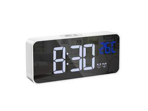 KeeKit Digital Alarm Clock, Digital Music Clock with Large LED Mirror Display, 4 Adjustable Brightness, Voice Control, USB Charging Ports, Snooze, 12/24H Display for Home, Bedroom, Office