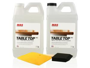 Crystal Clear Epoxy Resin One Gallon Kit   MAS Table Top Pro Epoxy Resin & Hardener   Two Part Kit for Wood Tabletop, Bar Top, Resin Art   Set Includes Spreader & Brush   Professional Grade Coating