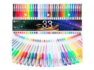 Gel Pens, 33 Color Gel Pen Fine Point Colored Pen Set with 40% More Ink for Adult Coloring Books, Drawing, Doodling, Scrapbooks Journaling