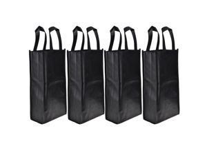 Cosmos 4 Pack Non-Woven 2-Bottle Wine Tote Bag Holder, Reusable Gift Bag - Black