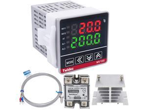 Twidec/ MV100-B10 Digital Display PID Temperature Controllers Thermostat Regulator AC 85V - 265V + K Sensor Thermocouple + Heat Sink and Solid State Relay SSR 25 DA