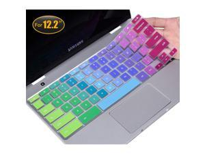 """CaseBuy Keyboard Cover Compatible 2019/2018 Samsung Chromebook Pro Plus 12.2"""" XE520QAB-K01US XE521QAB XE525QBB Chromebook Soft-Touch Protective Skin, Rainbow"""