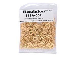 Artistic Wire Beadalon Medium Hook and Eye Clasps, Nickel Free Gold Plate, Set of 144