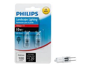 Philips Halogen Landscape Lighting T3 12-Volt Light Bulb: 3000-Kelvin, 10-Watt, G4 Base, 2-Pack