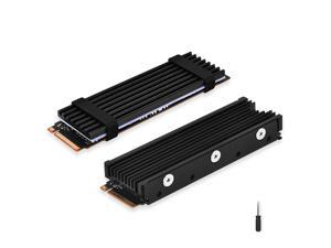 ELUTENG M.2 2280 Heatsink, Double-Sided Heat Sink Alloy Aluminum NGFF NVME Cooling Sink with 4 Thermal Conductivity Silicone Pads M.2 SSD Cooler Set for 2280 M.2 SSD