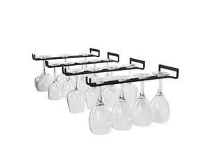 Wallniture Wine Glass Holder Stemware Rack Wall Mountable Heavy Duty Thick Wrought Iron Black 15 Inch Set of 4