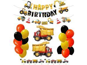 Construction Engineering Car Party Decoration Dump Truck Theme Happy Birthday Banners Party Personalized Decorations Set with Cake Topper for Boy Kids Birthday Party