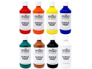 milo Acrylic Paint Set of 8 Colors 8 oz Bottles | Artist Student Acrylics Fluid Painting Art Set | Made in The USA