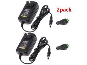 12V 2A Power Adapter Adapter,AC Power Supply 24W Max Convert Transformer Plug/2.1x5.5mm Connector with Female Barrel Connector to Screw Adapter for CCTV Camera System&LED Strip(Pack of 2)