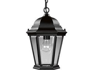 Progress Lighting P5582-31 Traditional One Light Hanging Lantern from Welbourne Collection Finish, 9-1/2-Inch Diameter x 15-Inch Height, Textured Black