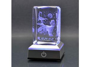 HOCHANCE 3D Constellation Scorpio Crystal with LED Colourful Light Base,Birthday Present Valentines Day Gifts for Girlfriend Woman Aunt Wife Mom,Oct. 24 - Nov. 21,Symbolic Energy: Mystery