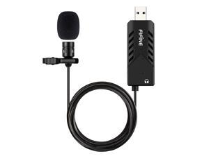 USB Lavalier Lapel Microphone,Fifine Clip-on Cardioid Condenser Computer mic Plug and Play USB Microphone with Sound Card for PC and Mac-K053
