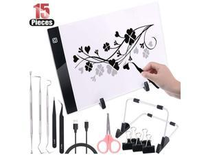 Hilitchi 15 Pcs Craft Weeding Tools Set Craft Vinyl Tools with A4 Adjustable Light Box Tracer USB Power for Brightpad See The Cut Lines Better
