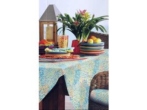 Fiesta Tablecloth Mosaic Dots in Blue Green Orange Yellow - Spiral Tile/Multi - 60 Inches by 84 Inches