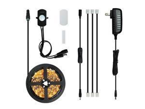 Sensky Motion Sensor LED Under Cabinet Lighting Kit Extendable Under Counter LED Light with Motion Sensor, Power Adapter for Gun Safe Light, Shelf, TV Wall Lighting (8.2FT,3000-3500K)