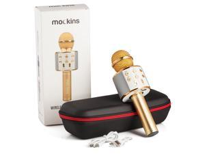 mockins Wireless Bluetooth Karaoke Microphone with Built in Bluetooth Speaker Speaker All-in-one Karaoke Machine | Compatible with Android & iOS iPhone - Gold Color