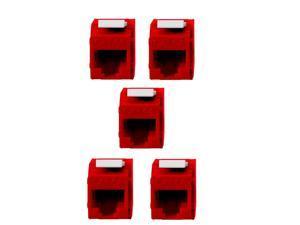 5x Keystone Jack Cat6A RJ45 Ethernet Network Module Toolfree 180 Degree Red