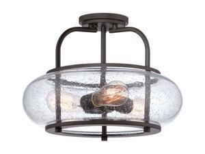 Quoizel TRG1716OZ Trilogy Glass Lantern Semi Flush Mount Ceiling Lighting, 3-...