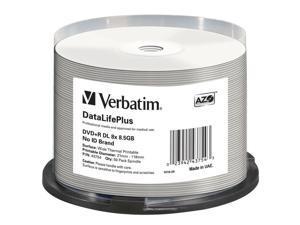 Verbatim 43754 DVD+R DL 8.5GB 8X DataLifePlus White Thermal Printable, Hub