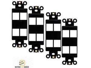 4x 4 Port Hole 1-Gang Keystone Jack Insert Decora Style Wall Plate Modular Black