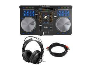 Hercules Universal DJ Controller Bundle with Headphones & Male-to-Male RCA Cable