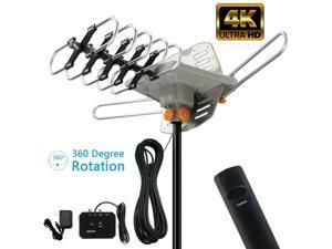 990 Miles Outdoor TV Antenna Motorized Amplified HDTV 1080P 4K 360° Ratator